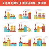Industrial factory buildings - 9 vector icons in flat design style