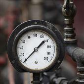 Closeup Of Antique Steam Engine Pressure Gauge