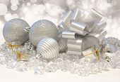 Christmas background with silver decorations