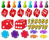 Set of number games with dice and coins