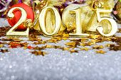 Fairytale New year composition with gold numbers 2015 year