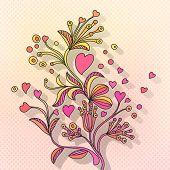 Doodle floral Valentine background