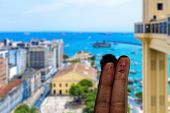 Cute couple finger in Salvador, Bahia, Brazil.