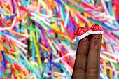 Cute couple finger in christmas theme on colorful background