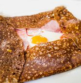 Homemade french buckwheat galette with egg