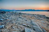 image of shoreline  - Beautiful Mountain Lake Shoreline on a sunny Day - JPG
