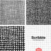 Set of Scribble Cell Pattern Backgrounds Hand Drawn in Pencil