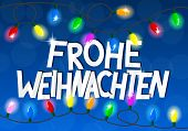 image of weihnachten  - vector illustration of a chain of christmas lights Frohe Weihnachten  - JPG