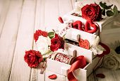 White box with various  decorations  for Valentine's Day. Vintage style