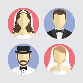 wedding couple avatar, flat design vector