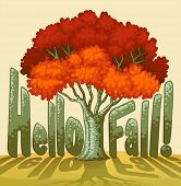 Hello fall text illustration with tree