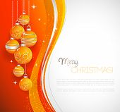 Merry Christmas  card with orange bauble