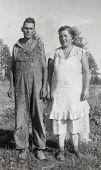CANADA - CIRCA 1920s: An antique photo shows  portrait of a farmer and his wife