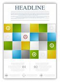 Abstract tech flyer template. Vector brochure with bright squares