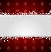 Red vector Christmas greeting background with snowflakes