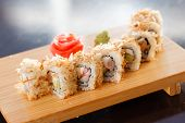 sushi on the wood board