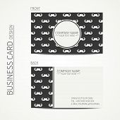 Vintage creative simple  business card template with curly vintage hipster gentleman mustache.