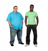 stock photo of body fat  - African man with perfect body together with a nice fat man isolated on white background - JPG