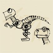 doodle dinosaur robot steampunk