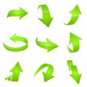 Green arrow icon. Vector