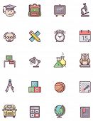 Set of the education related icons