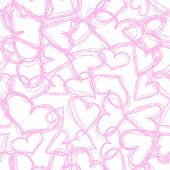 Abstract vector background Seamless casual scribble hearts