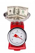 American Currency Is On The Rise. Dollar On Scales.