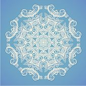 Round pattern, Circular ornament design element, White lace, Vector