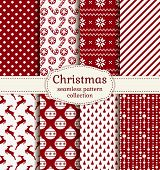 Christmas And Winter Seamless Patterns. Vector Set.