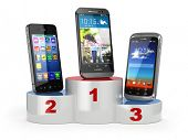 Choosing the best cellphone or comparison mobile phones.  Smartphones on the podium. 3d