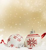 Sparkling Christmas background with red Christmas balls and decoration