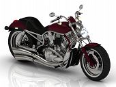 Top View. Motorcycle And Chrome Engine