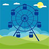 Ferris wheel vector illustration. Amusement park cartoon.