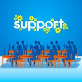 on-line technical support team working design concept vector
