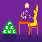 big on-line money earning through e-business , men hand up and celebrate happiness concept vector