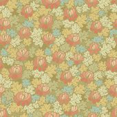 Abstract floral seamless pattern, vector, color version, no gradients, no mesh