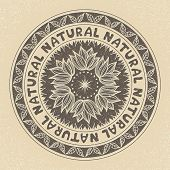 Natural stamp label, vector