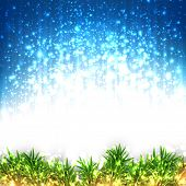 Glitter winter abstract background. Bright christmas illustration with snowflakes and sparkles. Vector.