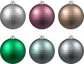 Colorful christmas balls. Set of textured realistic decorations. Vector illustration.