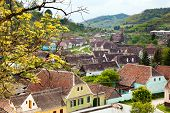 view of medieval Saxon village in Romania .In Transylvania region