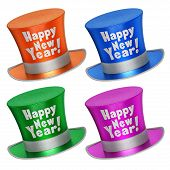 Постер, плакат: 3D Rendered Collection Of Colorful Happy New Year Top Hats