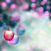 blurred Christmas background with evening balls