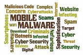Mobile Malware word cloud on white background