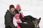 Mother, Daughter, Granddaughter In Winter