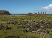 Row Of Moai By Coast