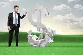 Smart businessman decides what to do with the ruble assets. Concept of success and right decision