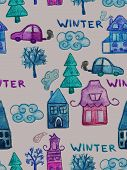 Vector Seamless Pattern With Watercolor Winter Houses