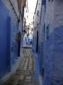 Blue Alley In Moroccan City Chefchaouen