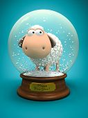 Symbol of 2015. White sheep in snow ball