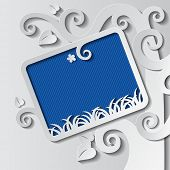 White tree shaped cut paper with blue  framed background